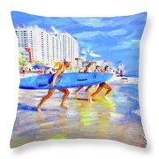 Blue Board Fast Into Ocean Throw Pillow
