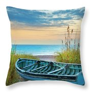 Blue Boat At Dawn Throw Pillow