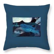 Blue Fish Throw Pillow by Maria Langgle