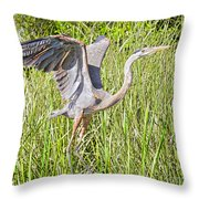 Blue Heron On The Rise Throw Pillow