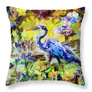Blue Heron Wetland Magic Palette Knife Oil Painting Throw Pillow by Ginette Callaway