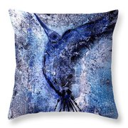 Blue Hummingbird Throw Pillow