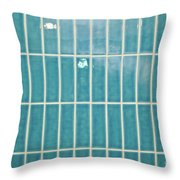 Blue Interior Tiles Throw Pillow