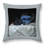 Blue Jar And Dark Purple Grapes Throw Pillow