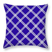 Blue Knit Throw Pillow