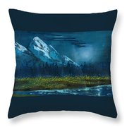 Blue Mountain Top Throw Pillow