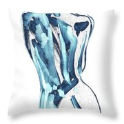 Blue Nude Woman Model Gesture Watercolor Xxxviii Throw Pillow