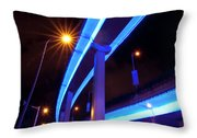 Blue Road At Night Throw Pillow