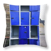 Blue School Lockers Throw Pillow