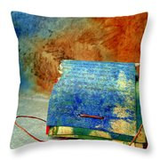 Blue Signature Altered Book Throw Pillow