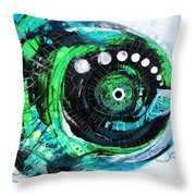 Blue Spewed Turtle Fish Throw Pillow