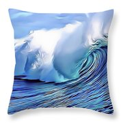 Blue Surf Throw Pillow