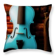 Blue Violin And Old Books Throw Pillow