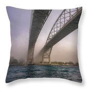Blue Water Bridge Fog Throw Pillow