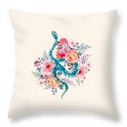 Blue Watercolor Snake In The Flower Garden Throw Pillow
