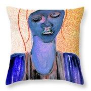Blue Woman Throw Pillow