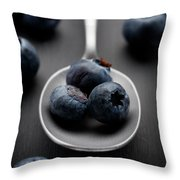 blueberries and a silver spoon on distressed wood No. 2 Throw Pillow