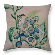 Blueberries At Lake Pickerel Throw Pillow