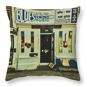 Blues Town Music Store Throw Pillow