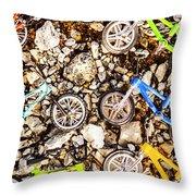 Bmx Pebble Race Throw Pillow