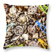 Bmx Pebble Race Throw Pillow