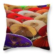 Bo Sang Umbrellas, Thailand Throw Pillow