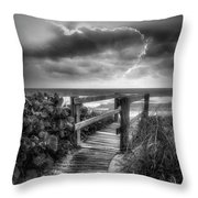 Boardwalk To The Sea In Radiant Black And White Throw Pillow
