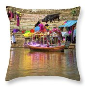 Boat And Bank Of The Narmada River, India Throw Pillow