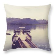 Boat Dock Tonto National Forest Throw Pillow