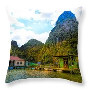 Boat People Homes On Gulf Of Tonkin Ha Long Bay Vietnam Throw Pillow