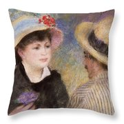 Boating Couple  Said To Be Aline Charigot And Renoir      Throw Pillow