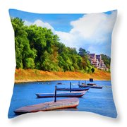 Boats At The Ferry Crossing Painting Throw Pillow