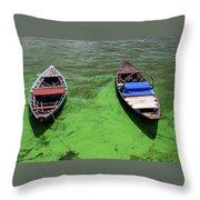 Boats On Algae, In Santarem, Brazil. Throw Pillow