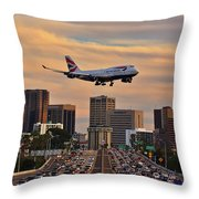 Boeing 747 Landing In San Diego Throw Pillow by Sam Antonio Photography