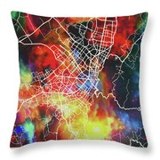 Bogota Colombia Watercolor City Street Map Throw Pillow