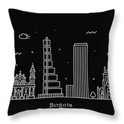 Bogota Skyline Travel Poster Throw Pillow