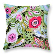 Bohemian Bird Garden Throw Pillow