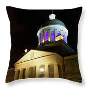 Bonsecours Market At Night In Old Montreal Throw Pillow
