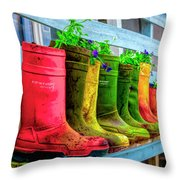 Boots Galore Throw Pillow by Debra and Dave Vanderlaan