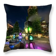 Boston Colored Steam Lights Boston Ma Rose Kennedy Greenway Steamy Throw Pillow