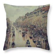 Boulevard Montmartre - Afternoon, In The Rain, 1897 Throw Pillow