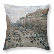 Boulevard Montmartre - Afternoon, Sunlight, 1897 Throw Pillow