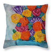 Bouquet In Blue Throw Pillow