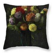 Bouquet Of Dahlias Throw Pillow