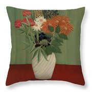 Bouquet Of Flowers With China Asters And Tokyos, 1910 Throw Pillow