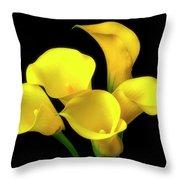 Bouquet Of Yellow Calla Lilies Throw Pillow