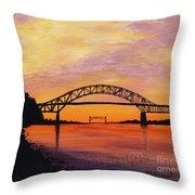 Bourne Bridge Sunset Throw Pillow
