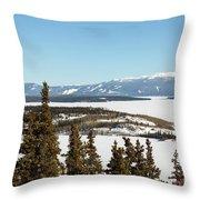 Bove Island On Windy Arm In Tagish Lake Yukon Throw Pillow