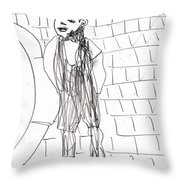 Boy On The Street Pencil Drawing Throw Pillow