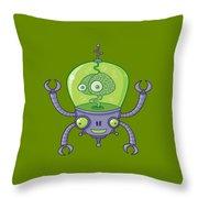 Brainbot Robot With Brain Throw Pillow